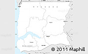 Silver Style Simple Map of Ziguinchor