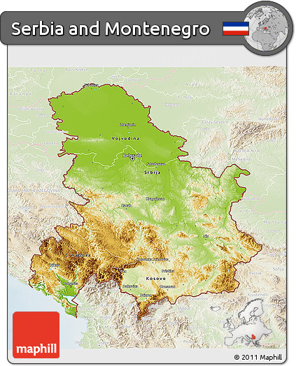 Free Physical 3D Map of Serbia and Montenegro lighten
