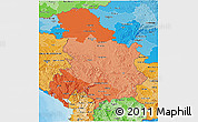 Political Shades 3D Map of Serbia and Montenegro