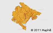 Political 3D Map of Crna Gora, cropped outside