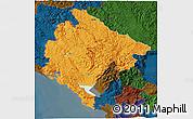 Political 3D Map of Crna Gora, darken