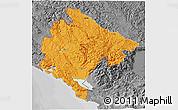 Political 3D Map of Crna Gora, desaturated