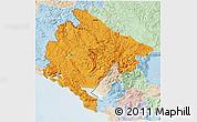 Political 3D Map of Crna Gora, lighten