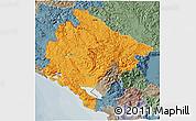 Political 3D Map of Crna Gora, semi-desaturated