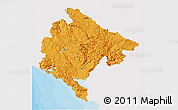 Political 3D Map of Crna Gora, single color outside