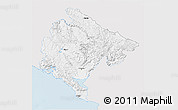 Silver Style 3D Map of Crna Gora, single color outside