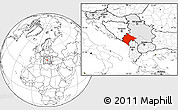 Blank Location Map of Crna Gora, highlighted country