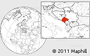 Blank Location Map of Crna Gora