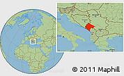 Savanna Style Location Map of Crna Gora