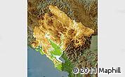 Physical Map of Crna Gora, darken