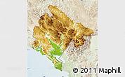 Physical Map of Crna Gora, lighten