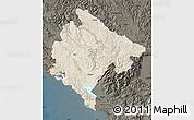 Shaded Relief Map of Crna Gora, darken