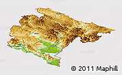 Physical Panoramic Map of Crna Gora, cropped outside