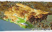 Physical Panoramic Map of Crna Gora, darken