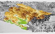 Physical Panoramic Map of Crna Gora, desaturated