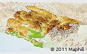 Physical Panoramic Map of Crna Gora, lighten