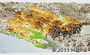 Physical Panoramic Map of Crna Gora, semi-desaturated
