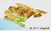 Physical Panoramic Map of Crna Gora, single color outside