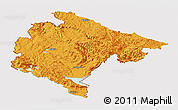 Political Panoramic Map of Crna Gora, cropped outside