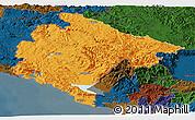 Political Panoramic Map of Crna Gora, darken