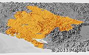 Political Panoramic Map of Crna Gora, desaturated