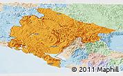 Political Panoramic Map of Crna Gora, lighten