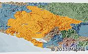 Political Panoramic Map of Crna Gora, semi-desaturated