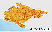 Political Panoramic Map of Crna Gora, single color outside