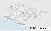 Silver Style Panoramic Map of Crna Gora, single color outside