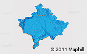 Political 3D Map of Kosovo, cropped outside