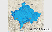 Political 3D Map of Kosovo, shaded relief outside