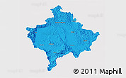 Political 3D Map of Kosovo, single color outside