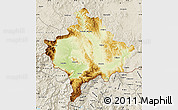 Physical Map of Kosovo, shaded relief outside