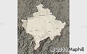 Shaded Relief Map of Kosovo, darken