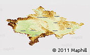 Physical Panoramic Map of Kosovo, cropped outside