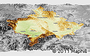 Physical Panoramic Map of Kosovo, desaturated