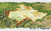 Physical Panoramic Map of Kosovo, satellite outside