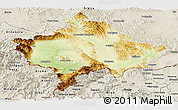 Physical Panoramic Map of Kosovo, shaded relief outside
