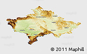 Physical Panoramic Map of Kosovo, single color outside