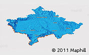 Political Panoramic Map of Kosovo, cropped outside