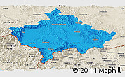 Political Panoramic Map of Kosovo, shaded relief outside