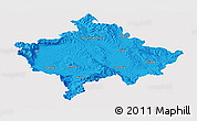 Political Panoramic Map of Kosovo, single color outside