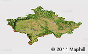 Satellite Panoramic Map of Kosovo, cropped outside