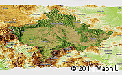 Satellite Panoramic Map of Kosovo, physical outside