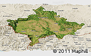 Satellite Panoramic Map of Kosovo, shaded relief outside