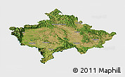Satellite Panoramic Map of Kosovo, single color outside