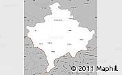 Gray Simple Map of Kosovo
