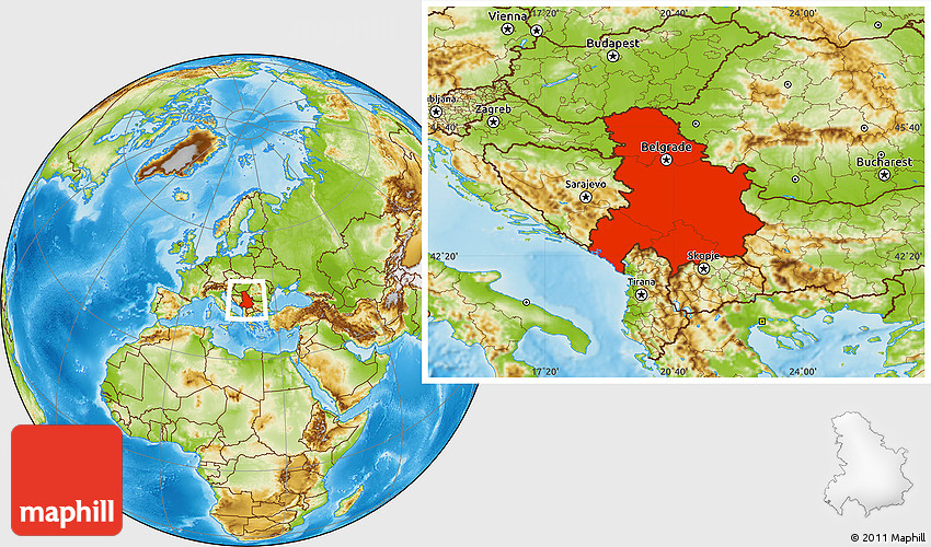 Physical Location Map Of Serbia And Montenegro - Map of serbia