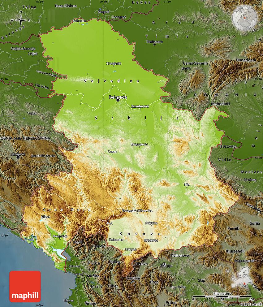 Physical Map of Serbia and Montenegro darken