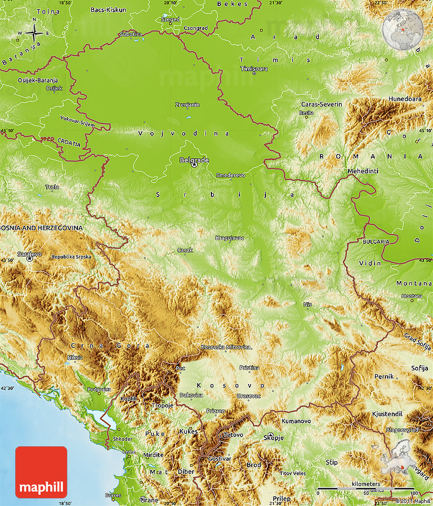 Physical Map of Serbia and Montenegro